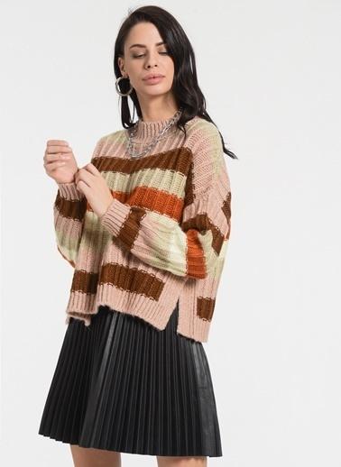 Styletag Renk Bloklu Kazak Renkli